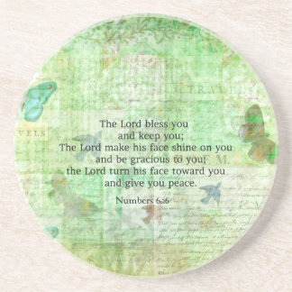 Numbers 6:24-26 Bible Verse Blessing with art Coaster