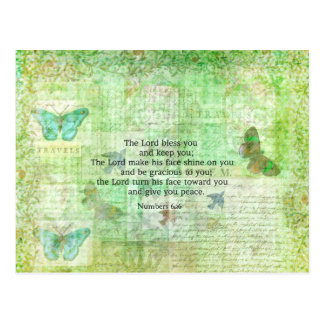 Numbers 6:24-26 Bible Verse Blessing with art Postcard