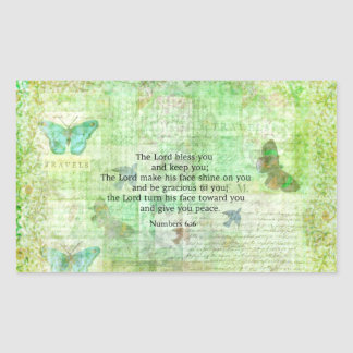 Numbers 6:24-26 Bible Verse Blessing with art Rectangular Sticker