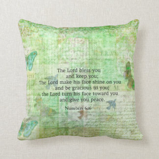 Numbers 6:24-26 Bible Verse Blessing with art Throw Pillow