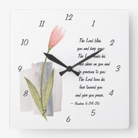 Numbers 6:24-26 The Lord Bless You and Keep You Square Wall Clock