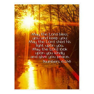 NUMBERS 6:24 BIBLE VERSE - MAY THE LORD BLESS YOU POST CARDS