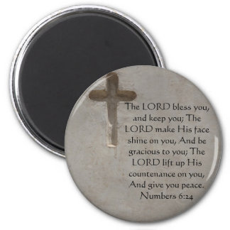 Numbers 6:24 UPLIFTING BIBLE VERSE with cross 2 Inch Round Magnet