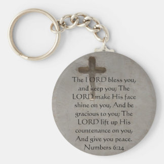 Numbers 6:24 UPLIFTING BIBLE VERSE with cross Keychain