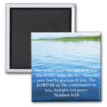 Numbers 6:24 UPLIFTING BIBLE VERSE with cross 2 Inch Square Magnet