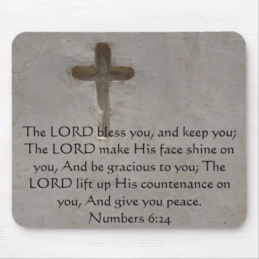 Numbers 6:24 UPLIFTING BIBLE VERSE with cross Mouse Pad