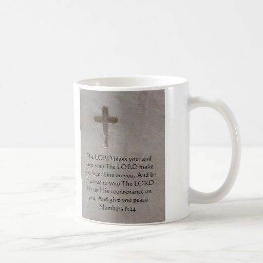 Numbers 6:24 UPLIFTING BIBLE VERSE with cross Classic White Coffee Mug