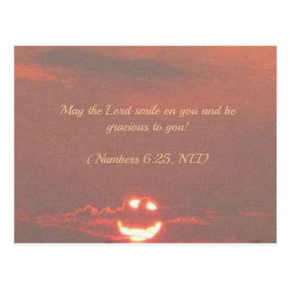 Numbers 6:25 Smiley Face Postcard