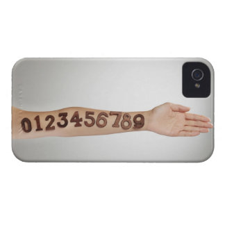 numbers affixed to the arm,ands close-up Case-Mate iPhone 4 case