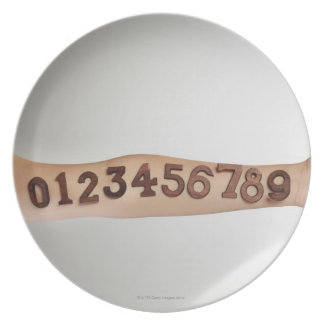 numbers affixed to the arm,ands close-up melamine plate