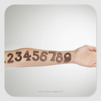 numbers affixed to the arm,ands close-up square sticker