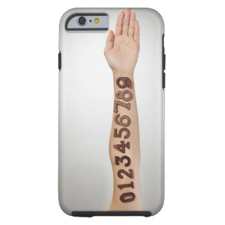 numbers affixed to the arm,ands close-up tough iPhone 6 case