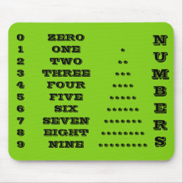 Numbers Black and Green Mousepad by Janz