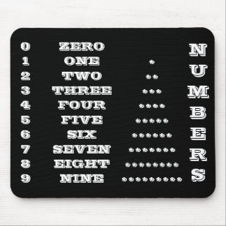 Numbers Black and White Mousepad by Janz