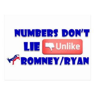 Numbers Don't Lie Unlike Romney/Ryan Postcard