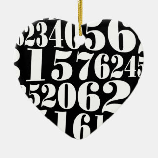 Numbers' gift Double-Sided heart ceramic christmas ornament