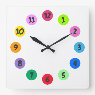 Numbers in Circles of Color 1 Square Wall Clock