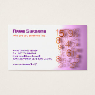 numbers modern business card