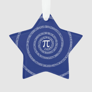 Numbers Spiral for Pi on Navy Blue Ornament