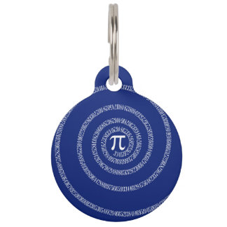 Numbers Spiral for Pi on Navy Blue Pet Tag