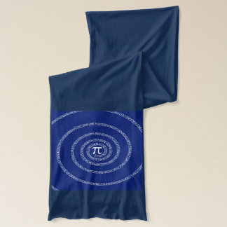 Numbers Spiral for Pi on Navy Blue Scarf