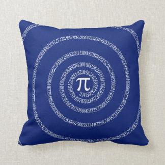 Numbers Spiral for Pi on Navy Blue Throw Pillow