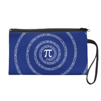 Numbers Spiral for Pi on Navy Blue Wristlet Purses