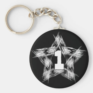 numder one star basic round button keychain