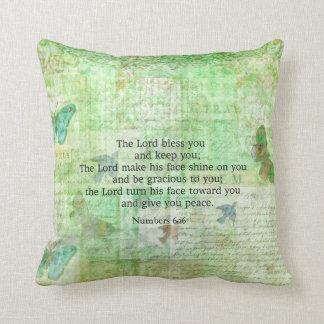Numera el 6:24 - bendición del verso de 26 biblias cojín decorativo