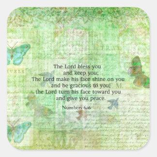 Numera el 6:24 - bendición del verso de 26 biblias pegatina cuadrada