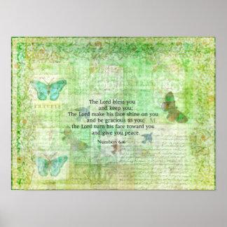 Numera el 6:24 - bendición del verso de 26 biblias póster