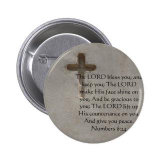 Numera el 6:24 QUE ELEVA VERSO de la BIBLIA con la Pin Redondo De 2 Pulgadas