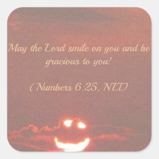 Numera la cara del smiley del 6:25 colcomanias cuadradas