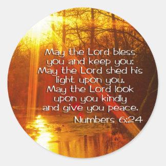 NUMERA VERSO DE LA BIBLIA DEL 6:24 - PUEDE EL PEGATINA REDONDA