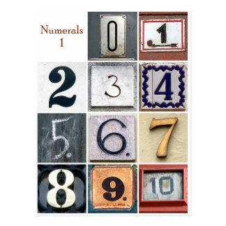 Numerals 1 postcard