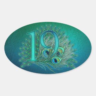 Numere 19/edad/años/diecinueveavo plantilla del pegatina ovalada