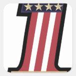 numere 1 bandera y estrella del vintage de los calcomanías cuadradass personalizadas