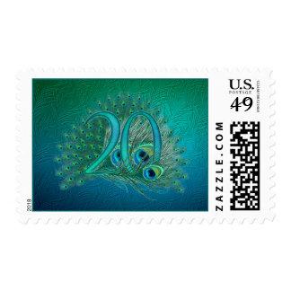 Numere 20/edad/años/vigésima plantilla del cumplea sello