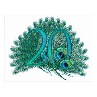 Numere 20/edad/años/vigésima plantilla del cumplea tarjeta postal