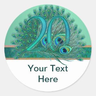 Numere 20/edad/años/vigésima plantilla del pegatina redonda