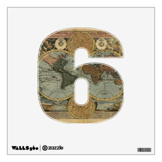 Numere la etiqueta de 6 paredes - número seis then vinilo adhesivo