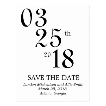 printedpaperdesigns Numerical Save the Date Post Card