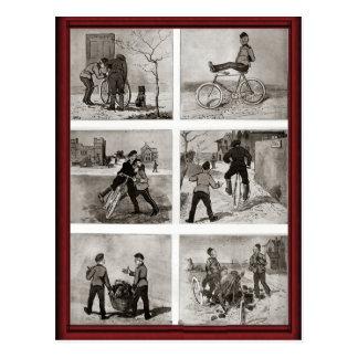 Numeritos de la bicicleta del vintage postales