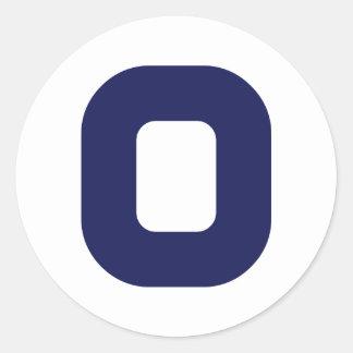 Número 0 pegatina redonda