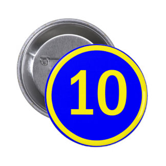 número 10 en un círculo pin redondo de 2 pulgadas