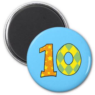 Número 10 imán redondo 5 cm