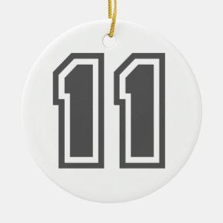 Número 11 adorno redondo de cerámica