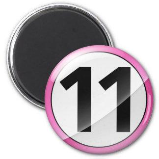 Número 11 Mangent rosado Imán Redondo 5 Cm