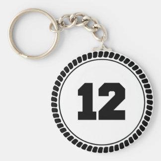 Número 12 llavero redondo tipo pin