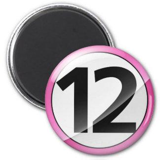 Número 12 Magent rosado Imán Redondo 5 Cm